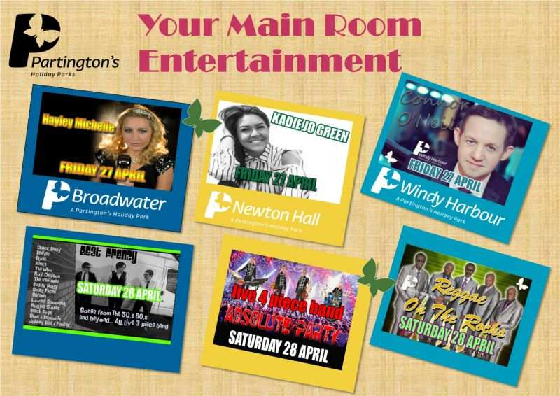 27th and 28th April 2018 Main Room Entertainment across our Fylde Coast Holiday Parks!