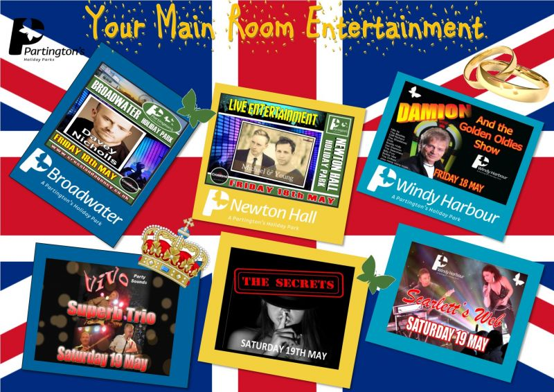We have a fantastic weekend for you in store for the Royal Wedding, here is your Main Room Entertainment at your Fylde Coast Holiday Parks