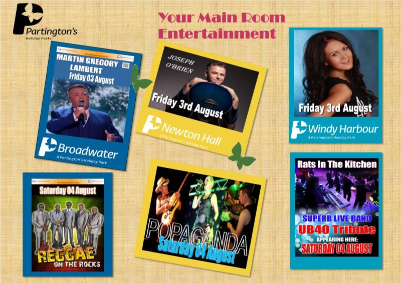 Here is your Main Room entertainment for this weekend 3rd August - 4th August