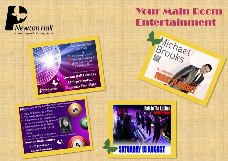 Here is your Main Room entertainment for this weekend 17th August - 19th August