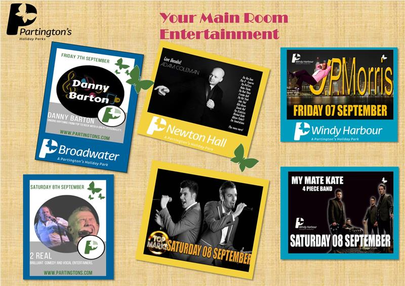 Here is your Main Room entertainment for this weekend 7th September - 9th September
