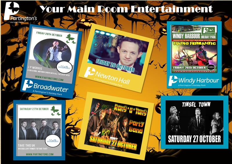 Here is your Main Room Halloween entertainment for this weekend 26th October - 28th October