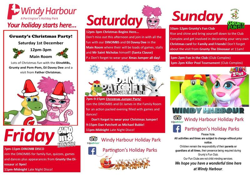 Here is your Family Room programme for Broadwater, Newton Hall and Windy Harbour Holiday Parks from 30th November - 2nd December