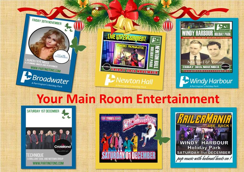 Here is your Main Room entertainment for this weekend 30th November - 2nd December