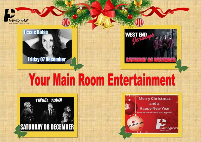 Here is your Main Room entertainment for this weekend 7th December - 9th December