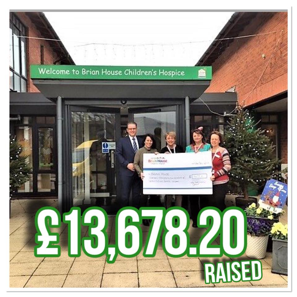 Partington's have raised an astounding £13,678.20 for Brian House Children's Hospice!