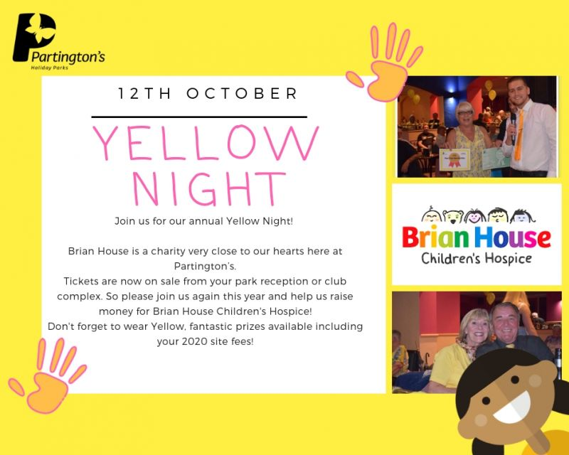 🌟 Saturday 12th October is our annual Yellow Night supporting Brian House Children's Hospice, don't forget to wear something yellow! 🌟