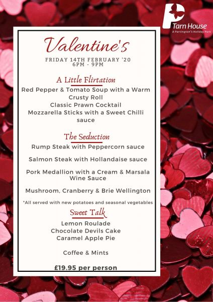 Valentine's Menu - Book Now at Tarn House